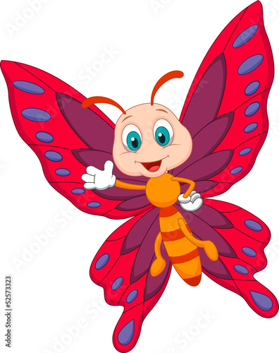 Cute butterfly cartoon waving #52573323
