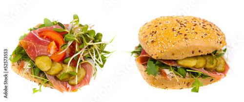 Poster de jardin Vache Delicious and healthy sandwich