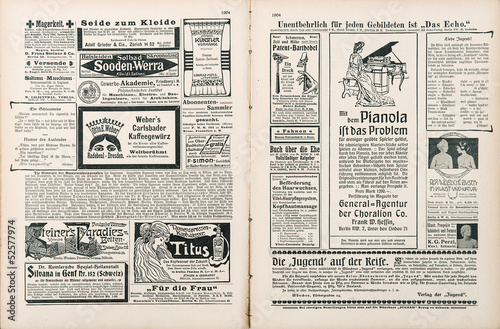 Foto op Plexiglas Kranten newspaper page with antique advertisement