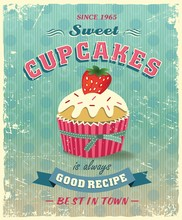 Retro Cupcake Poster Vector Illustration