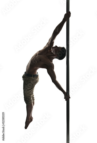 Fotografie, Obraz  Young strong pole dance man