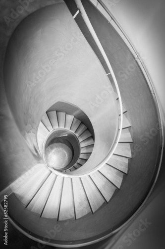 top view on spiral stair in black and white