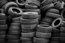 Old Used Tires Stacked With Hi...