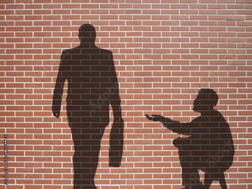 Photo ombre de mendiant et businessman