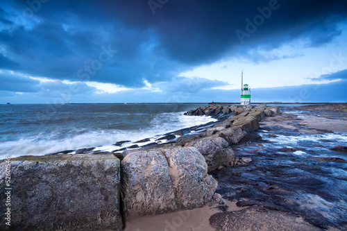 Fototapeta lighthouse on North sea coast, Ijmuiden, Holland