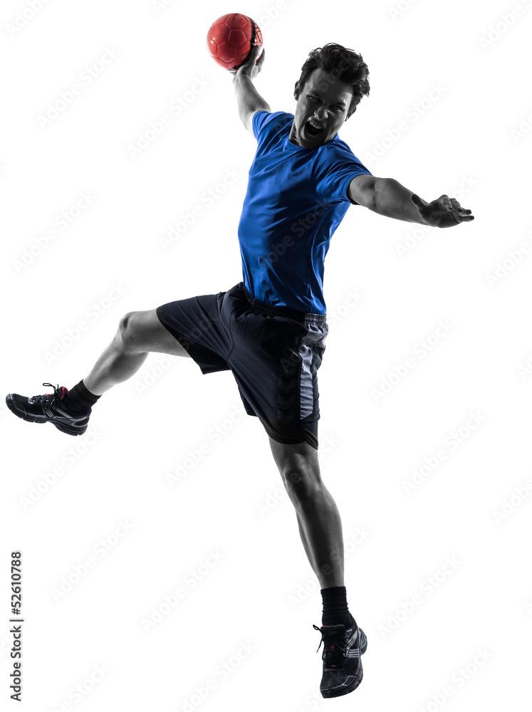 Foto-Vorhang - young man exercising handball player silhouette