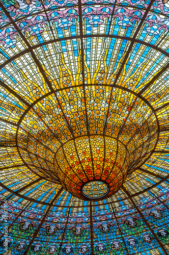 Ceiling in Misic Palace, Barcelona, Spain Wallpaper Mural