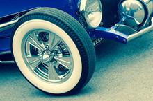 Retro Toned Luxury Vintage Auto With White-wall Wheels