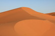 Sand dunes and cloudless sky in Merzouga,Morocco