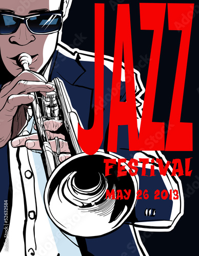 In de dag Muziekband Jazz poster with trumpeter