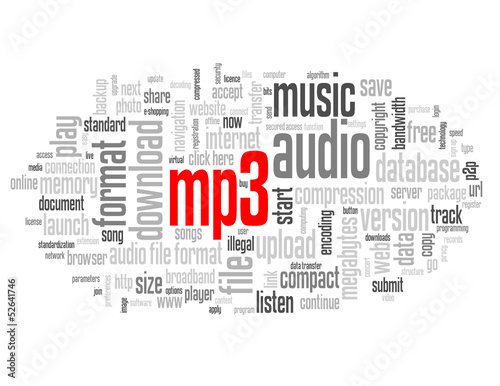 MP3 Tag Cloud (music audio files format download web button) - Buy