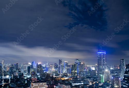 City town at night in Bangkok, Thailand Wallpaper Mural