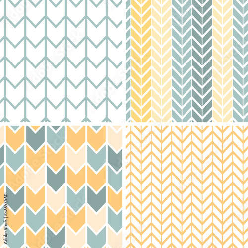 Photo Vector set of four gray and yellow chevron patterns and