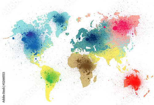 colorful world map with paint splashes Canvas Print