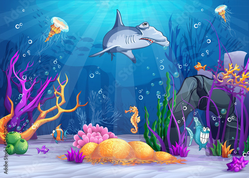 Illustration of the underwater world with  hammerhead shark. Poster