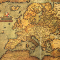 Fototapeta Reproduction of 16th century map of Europe