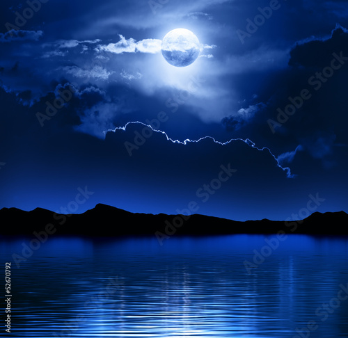 Fotobehang Volle maan Fantasy Moon and Clouds over water