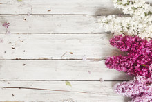 Wood Background With Lilac Flo...