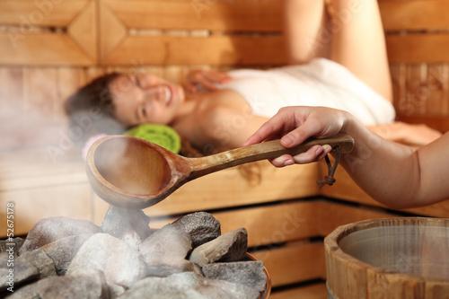 Doppelrollo mit Motiv - Saunasaufguss (von sabine hürdler)