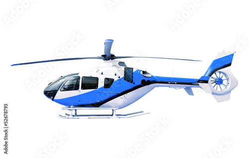 Papiers peints Hélicoptère blue helicopter isolated white