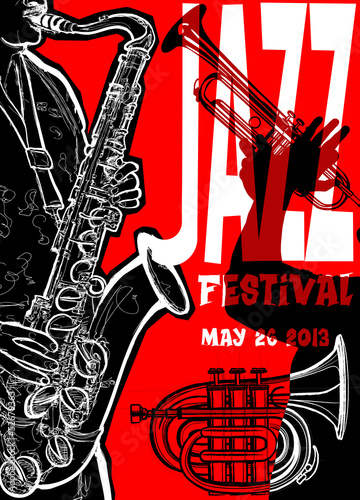 In de dag Muziekband Jazz poster with saxophonist