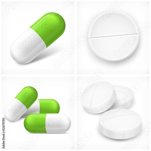 Fotografia  Different pills on white