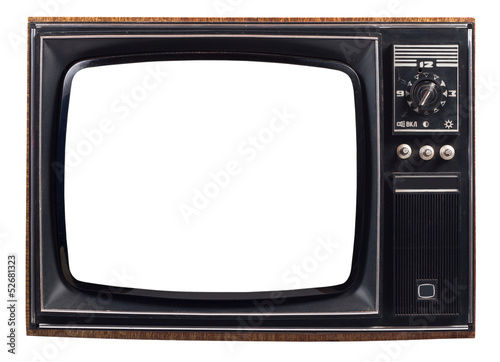 Fotografía  The old TV on the isolated white background