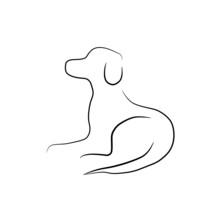 Liegender Freundlicher Hund - Skizze