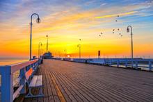 Sunrise At The Molo In Sopot, ...