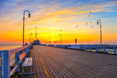 Sunrise at the Molo in Sopot, Poland. #52683796