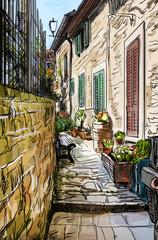 Panel Szklany Podświetlane Uliczki Old Buildings In Typical Medieval Italian City - illustration