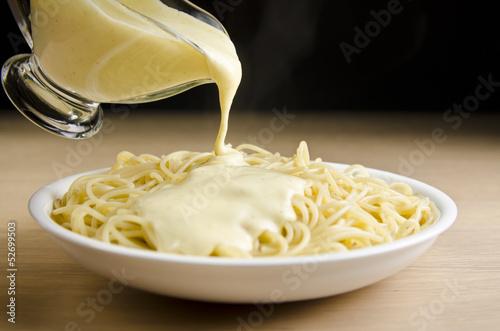 Fototapeta Spaghetti with white sauce obraz