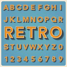 Retro Type Font, Vintage Typography .