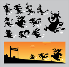 Cartoon Running Silhouettes