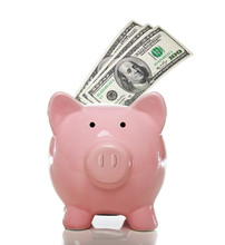 Pink Piggy Bank With Hundred Dollar Bills