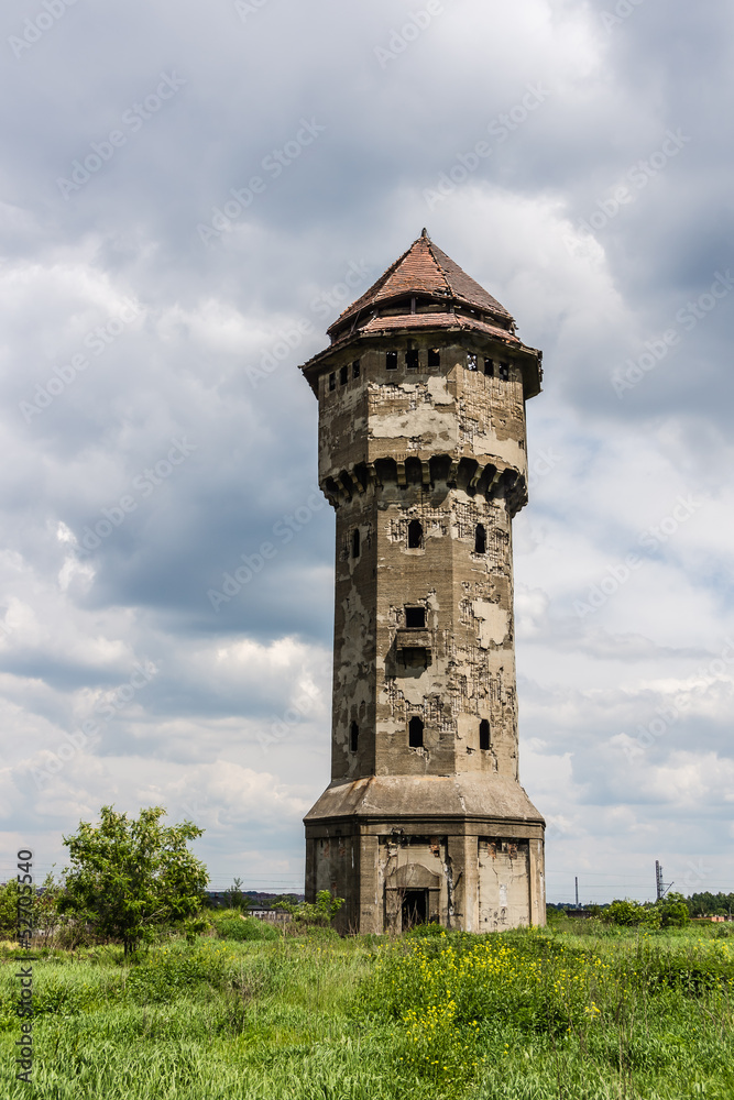 Devastated  water tower in Katowice