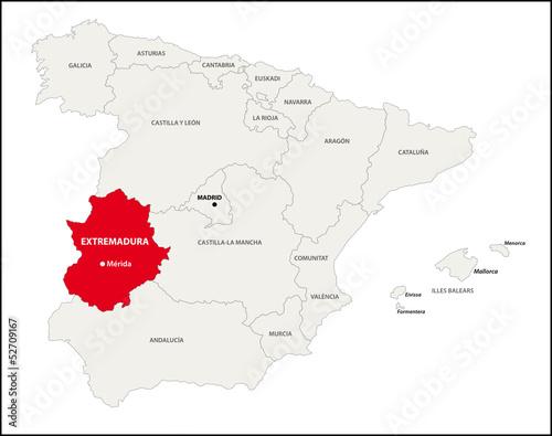Autonome Regionen Spanien Karte.Autonome Region Extremadura Spanien Kaufen Sie Diese