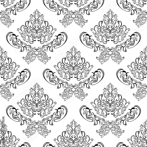Seamless Damask Pattern Black Template On White Buy This Stock