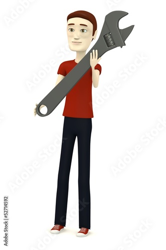 Foto op Aluminium Sweet Monsters 3d render of cartoon character with wrench