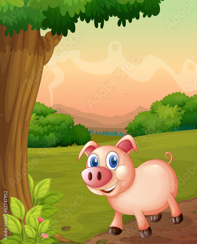 Tuinposter Vlinders A smiling pig under the tree