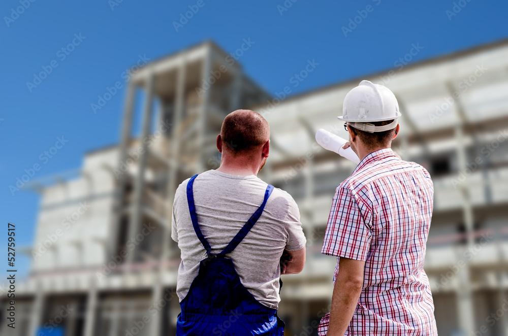 Obraz workers at the construction site fototapeta, plakat