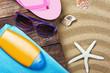 beach gear lie on the sand