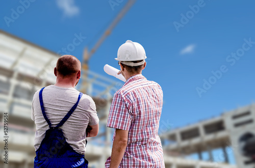 Obraz workers at the construction site - fototapety do salonu