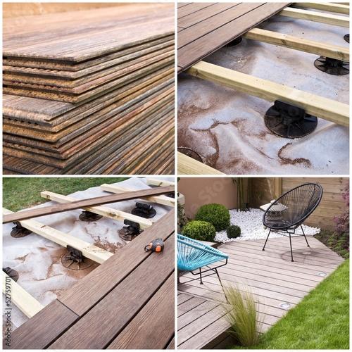Beau Collage Construction Du0027une Terrasse En Bois