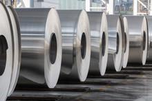 Rolls Of Aluminum Close Up In ...