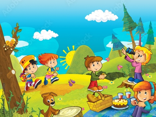 Acrylic Prints Dinosaurs Picnic in the woods - illustration for the children