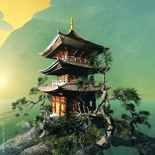 Foto op Plexiglas Bedehuis Buddhist temple in the mountains