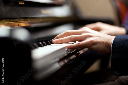 Pianist playing music Canvas Print