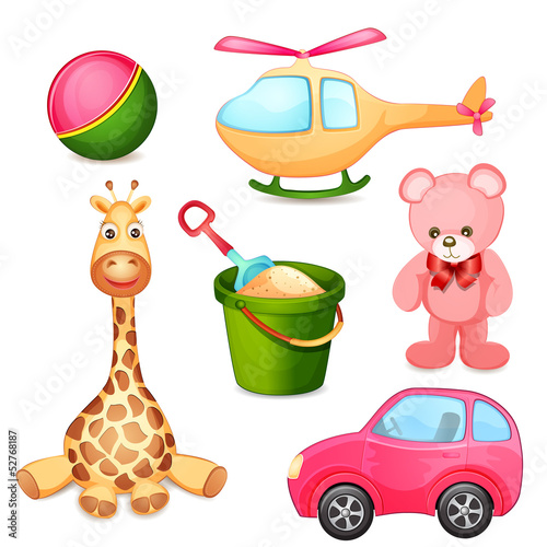 ilustracja-roznorodne-zabawki-na-bialym-tle