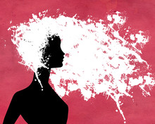 Silhouette Of Woman With White Painted Hair